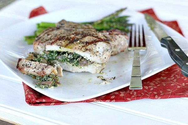 Kale Pesto Mushroom Stuffed Porterhouse Chops - Dishin & Dishes