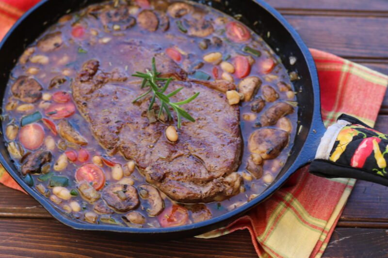 Cowboy Steak and Beans - Dishin & Dishes