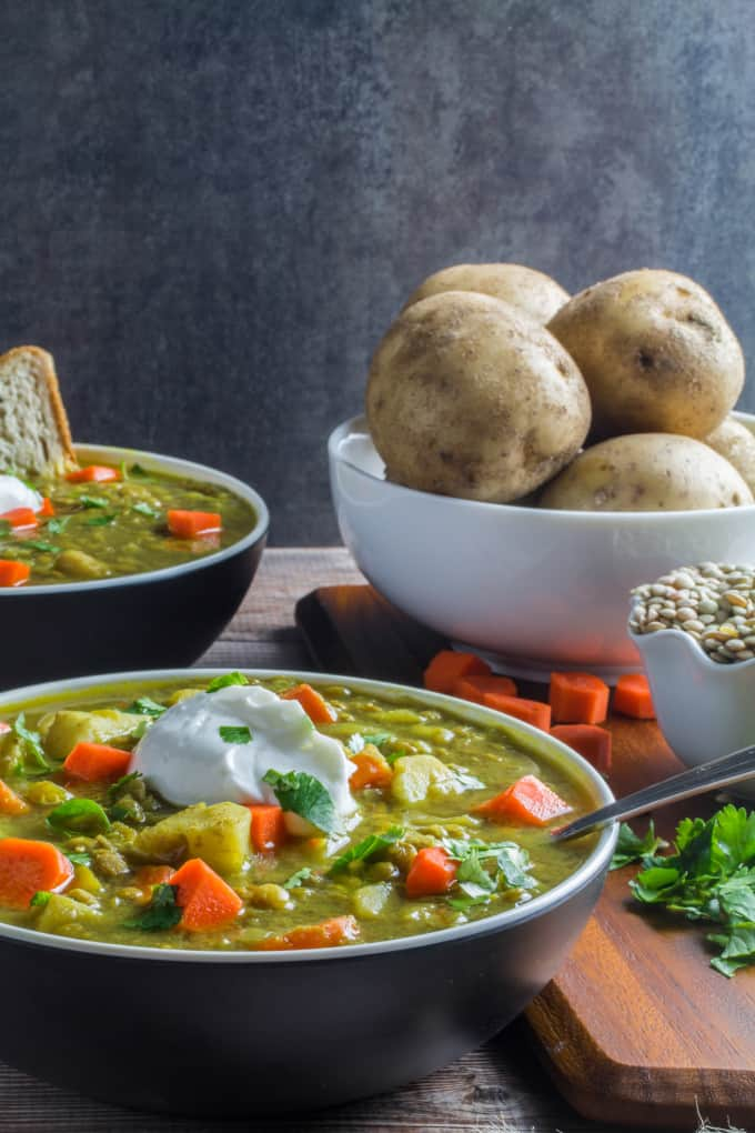 Hearty lentils paired with savory vegetables are simmered in a flavorful broth and served hot. This comforting Lentil and Vegetable Soup combines the flavors of coriander, cumin, ginger, and allspice perfectly, and is sure to become a staple in your household this winter. It's so easy to make, and you can use any vegetables you have in your kitchen for this versatile dish.
