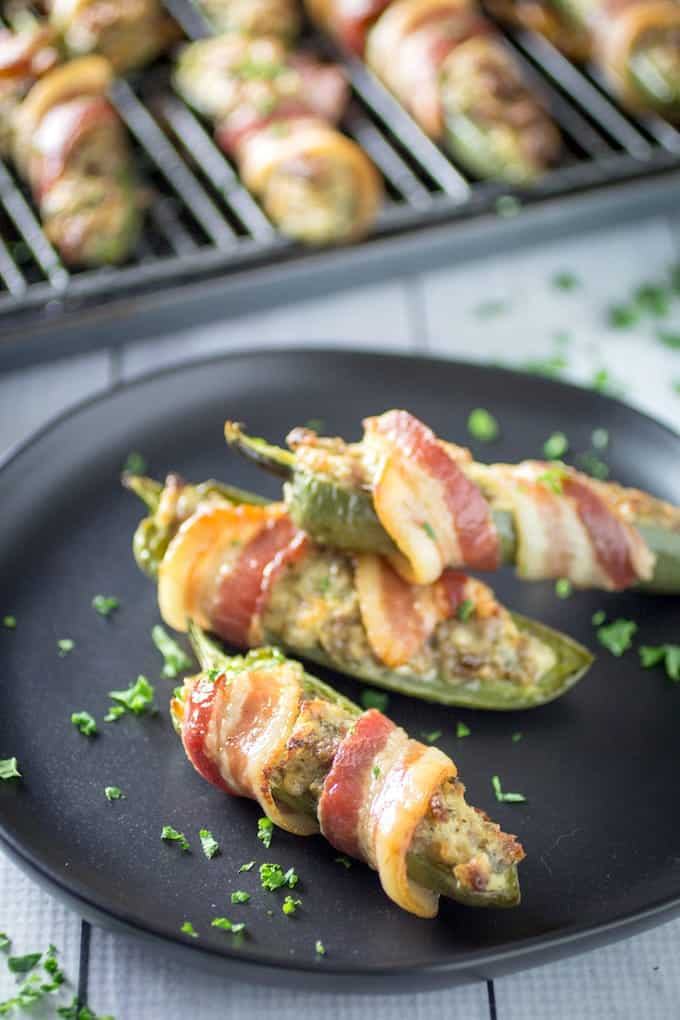 bacon wrapped sausage stuffed jalapenos