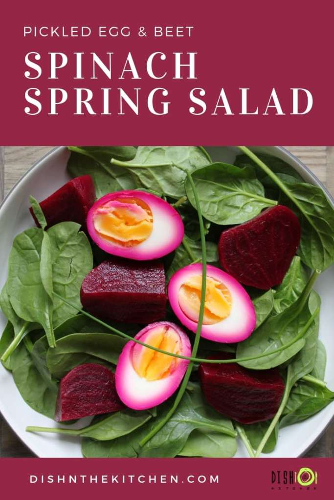 Pickled Egg And Beet Spinach Spring Salad Dish N The