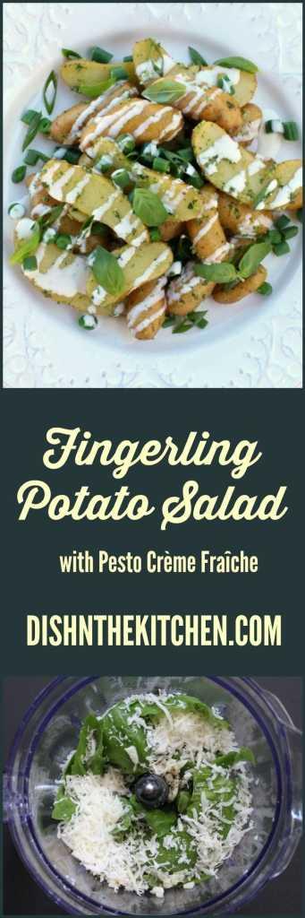 A bright modern take on classic potato salad. #fingerlingpotatoes #potatoes #pestocream #CrèmeFraîche