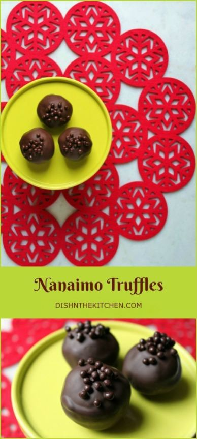 The traditional layered Canadian favourite Nanaimo Bars in truffle form. #truffles #NanaimoBars #ChristmasBaking #Chocolate