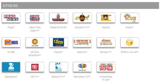 other channels in tata sky south special pack