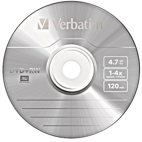 DVD RW Verbatim 4x Branded DVDRW 10 Blank Discs 120 Minutes 47GB DVDRW 43488