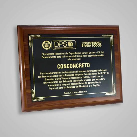 Placa Conmemorativa DPS