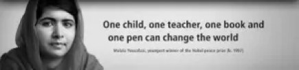 """Portrait of Malala Yousafzai with text that reads """"One child, one teacher, one book and one pen can change the world."""""""