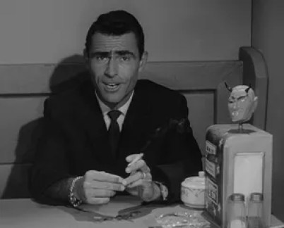Rod Serling at a diner table introducing Twilight Zone episode
