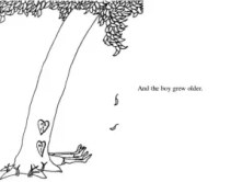 """Illustration from The Giving Tree. Text reads """"and the boy grew older"""""""