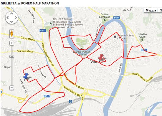 percorso giulietta e romeo half marathon 2013 verona