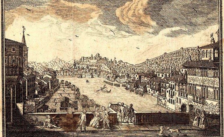 Stampa antica La costruzione delle Beccarie al Ponte Nuovo di Verona nel 1468