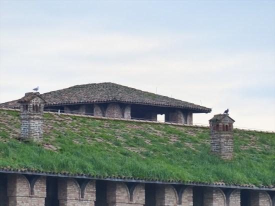 L'erba ricopre il tetto sopra i merli di Castelvecchio a Verona