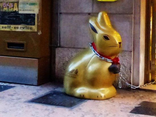 20140329 Coniglietto Lindt incatenato via Roma Verona