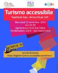 """Locandina Convegno turismo accessibile Aspettando Expo Verona si fa per tutti; Nicoletta Ferrari, presidente Associazione Dismappa """"I luoghi accessibili di Verona"""""""