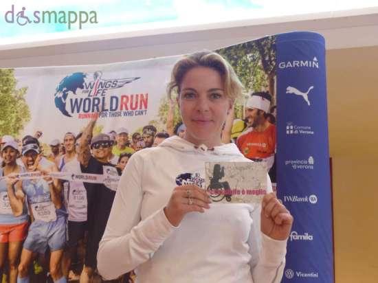L'attrice Claudia Gerini, ambasciatrice della Wings for Life World Run a Verona, testimone di accessibilità per dismappa