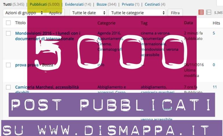 5000 articoli pubblicati sul sito www.dismappa.it