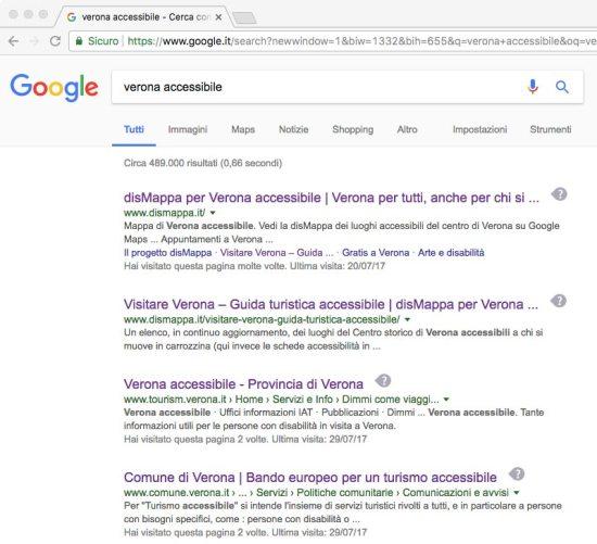 Schermata ricerca google di Verona accessibile: dismappa ha i primi due posti