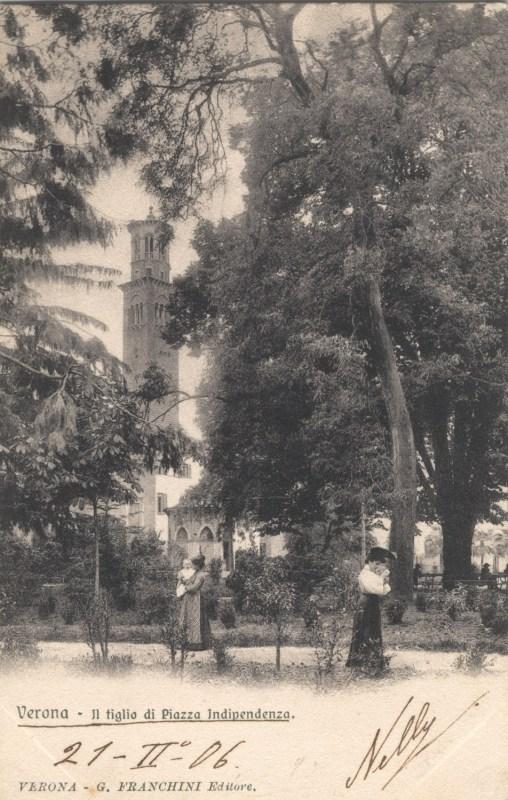 Il tiglio di PIazza Indipendenza (ora scomparso) in una cartolina d'epoca di Verona