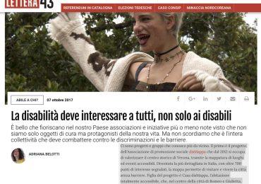 articolo di adriana belotti su lettera 43 disabilità con foto di Bebe Vio in cui si parla anche del progetto disMappa e Casa disMappa