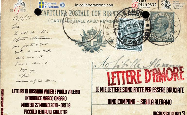 Le mie lettere sono fatte per essere bruciate Dino Campana – Sibilla Aleramo letture di Rossana Valier e Paolo Valerio Introduce Marco Ongaro