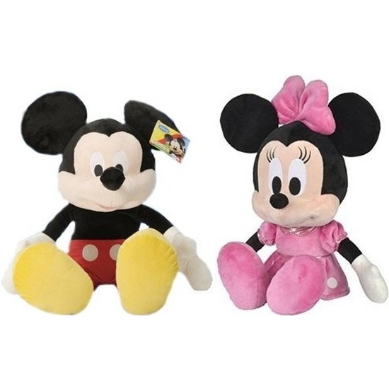 2x Disney Mickey en Minnie Mouse knuffels 49 cm speelgoed set