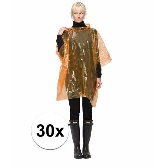 30 oranje wegwerp regencapes