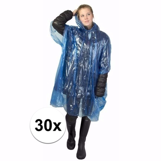 30x blauwe wegwerp regencapes