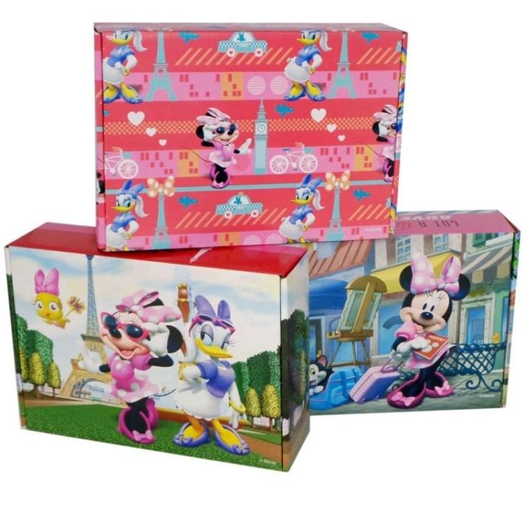 3x Disney Minnie/Katrien opbergboxen/opbergdozen van karton