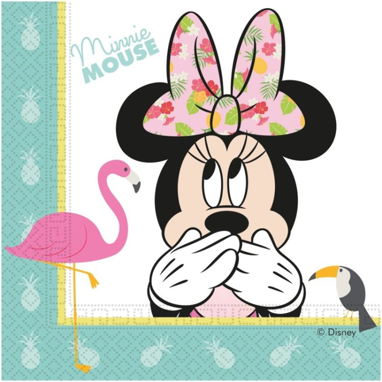 40x Disney Minnie Mouse tropical themafeest servetten 33 x 33 cm