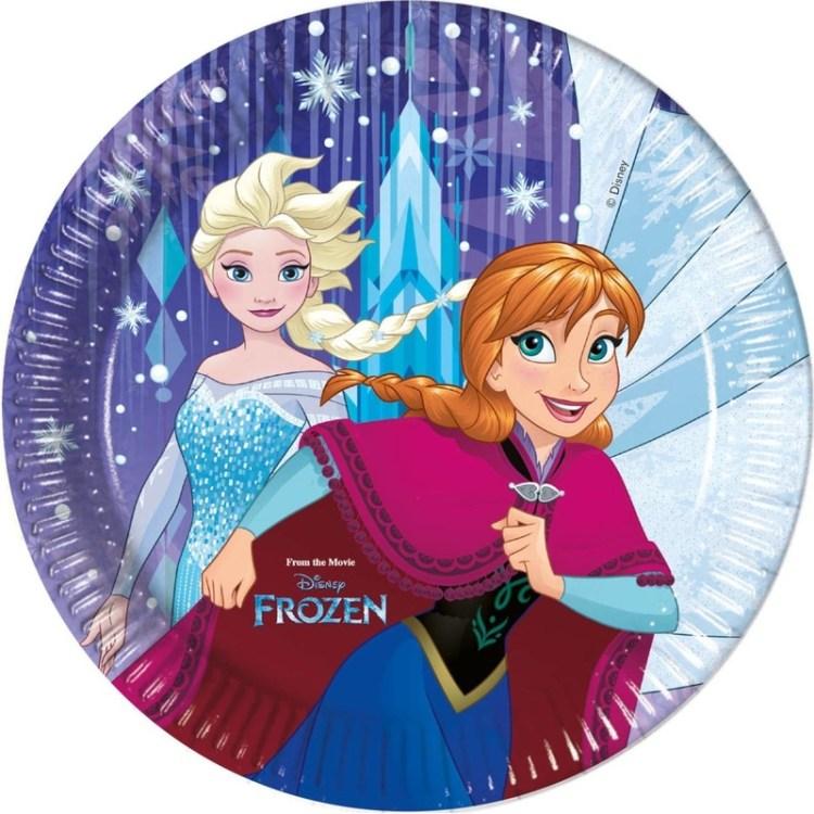 8x Frozen blauw/paars themafeest bordjes 23 cm