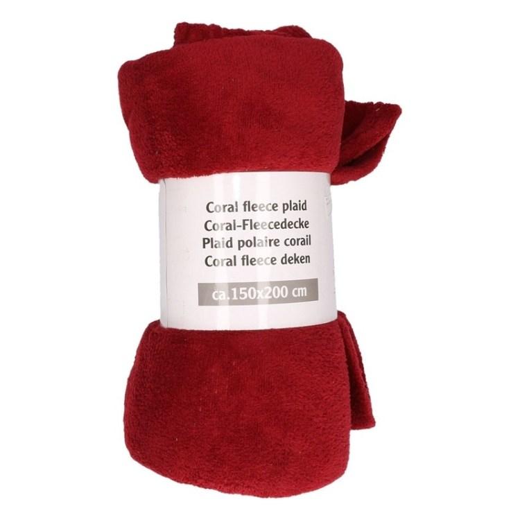 Bordeaux rode fleece deken 150 x 200 cm