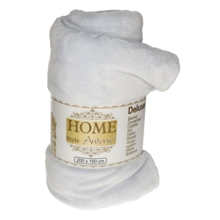 Flanellen/fleece deken/plaid mist grijs 150 x 200 cm