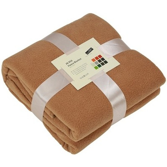 Fleece deken/plaid camel 130 x 170 cm
