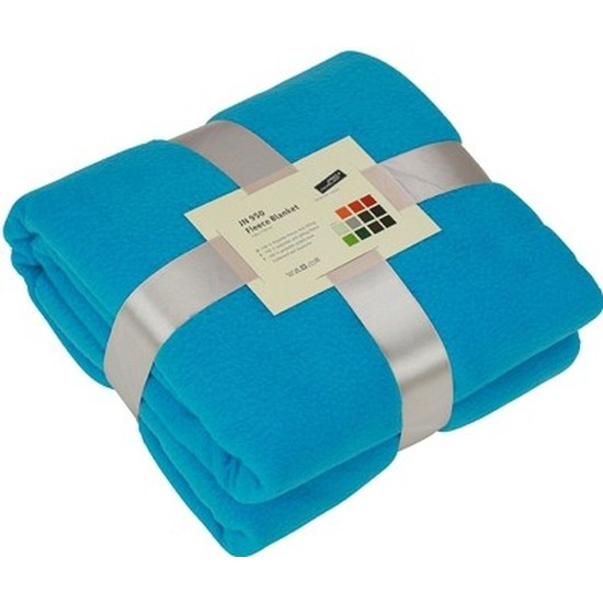 Fleece deken/plaid turquoise 130 x 170 cm