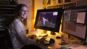 Malerie Walters working on the animation process of Frozen 2