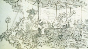 Die Peter Pan Szene des nie gebauten Muppet Movie Ride