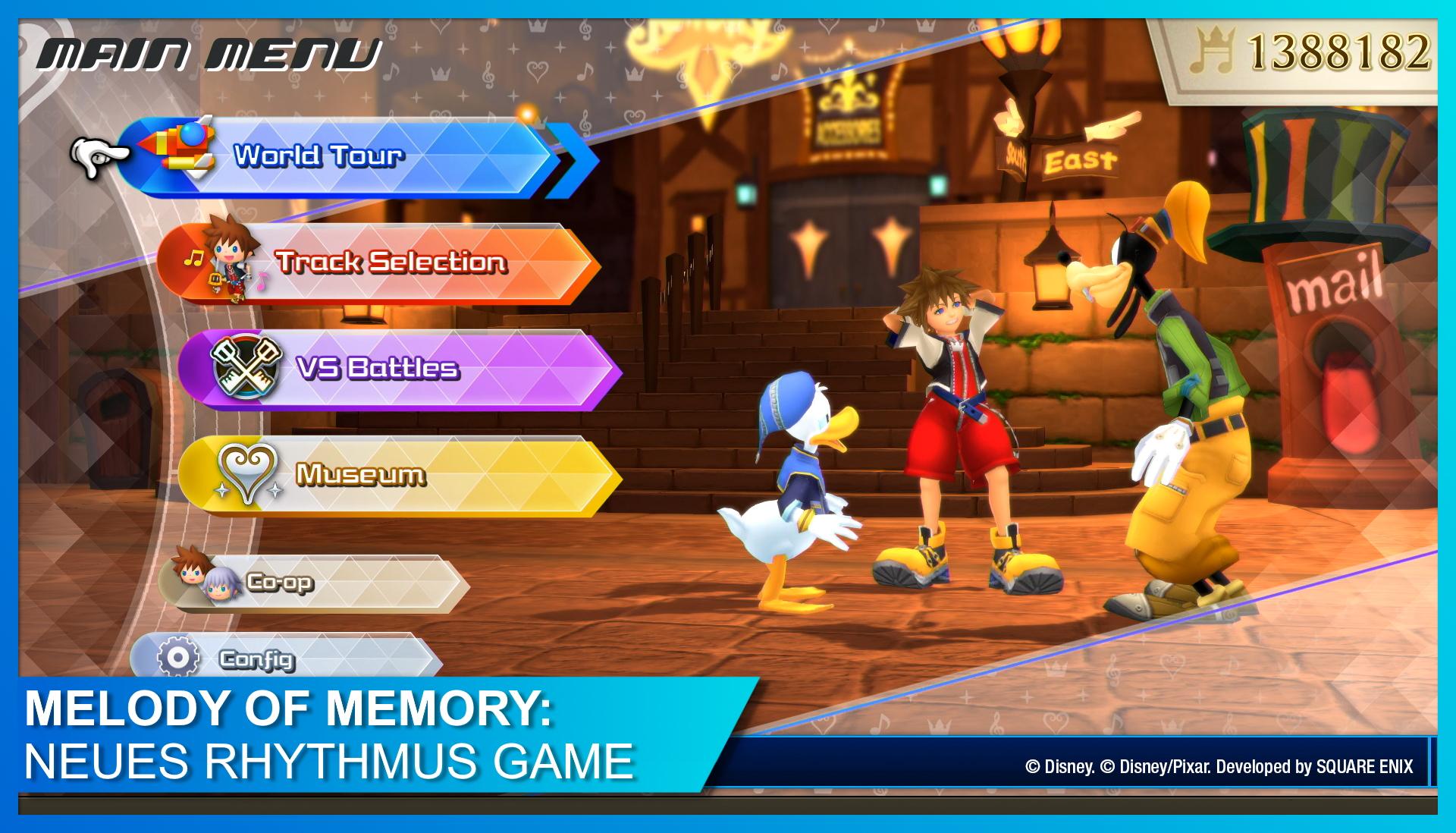 Hauptmenü mit Sora, Donald und Goofy in KINGDOM HEARTS Melody of Memory