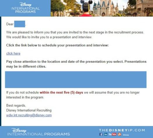 Disney International Program Interview Einladung