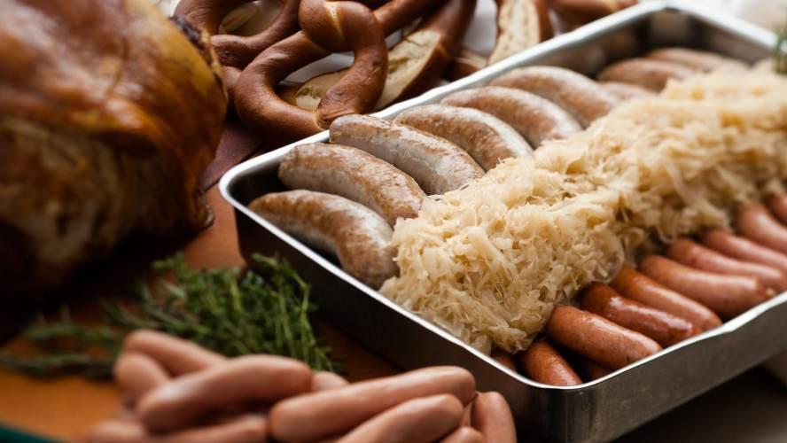 Sauerkraut, Bratwurst and Pretzels at Biergarten in Epcot