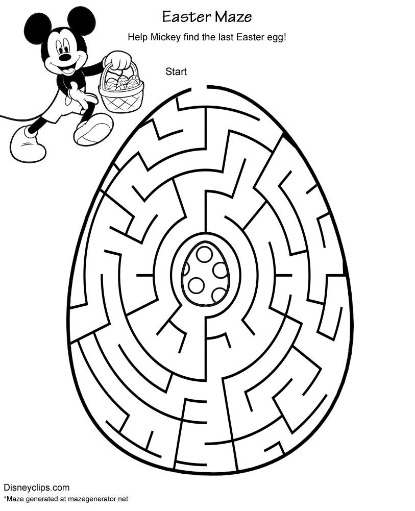 Printable Disney Easter Mazes Disneys World Of Wonders