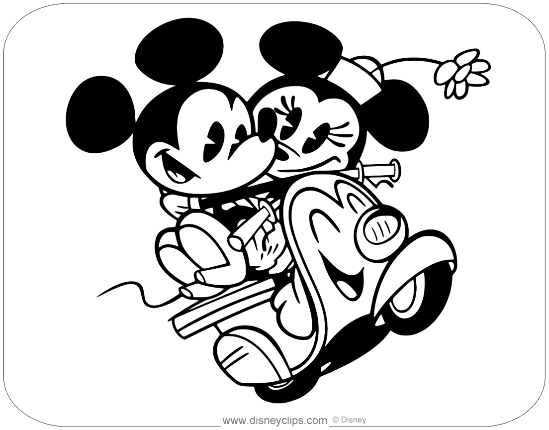 Pages And Coloring Kissing Mickey Minnie Mouse