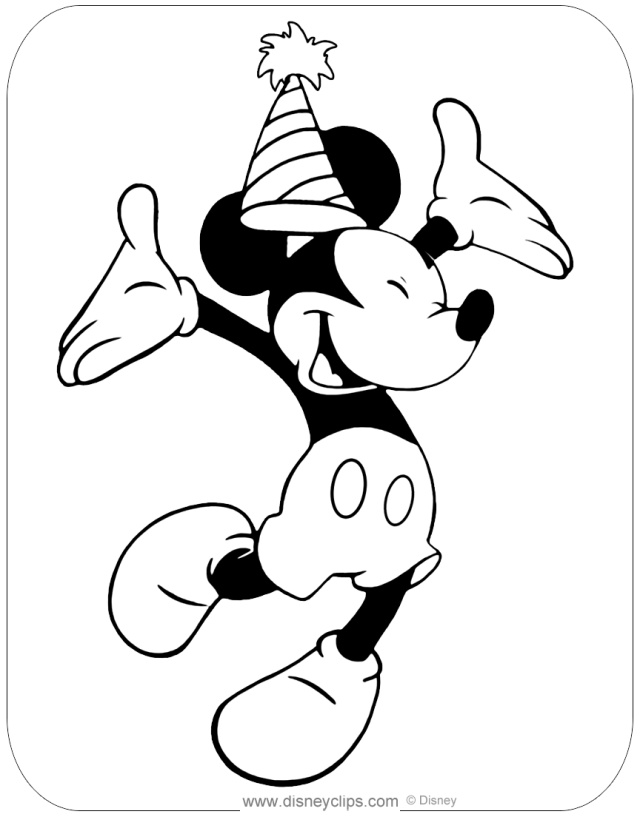 Mickey Mouse Birthday Coloring Pages  Disneyclips.com