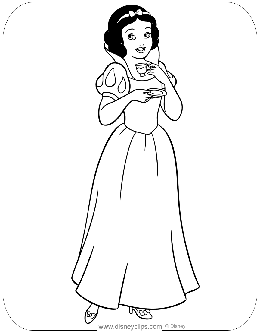 Snow White And The Seven Dwarfs Coloring Pages Disneyclips Com
