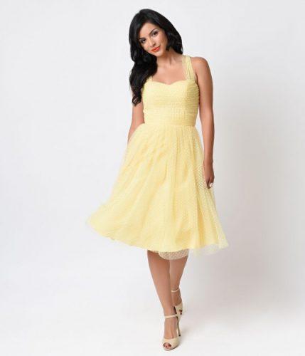 Unique_Vintage_Yellow_White_Swiss_Dot_Garden_State_Mesh_Dress_5