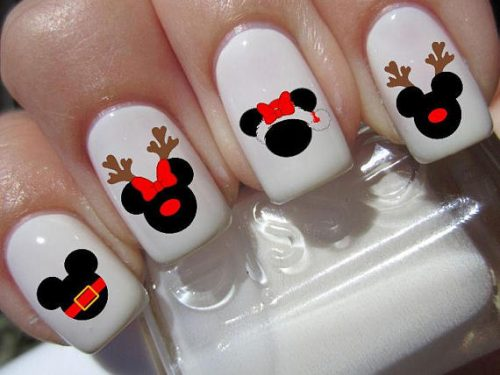 and this holiday season you can add some mickey mouse magic with these disney christmas inspired nail decals - Disney Christmas Nails