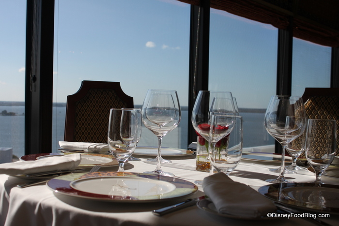 A table with a view at Palo aboard the Disney Dream