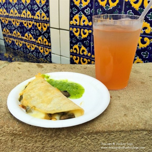 Corn Tortilla Quesadilla served with Roasted Mushrooms and Zucchini Blossom topped with Green Tomatillo Sauce and Elderflower Watermelon Sangria