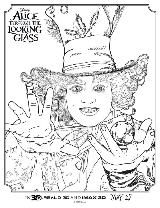 alice through the looking glass coloring page hatter