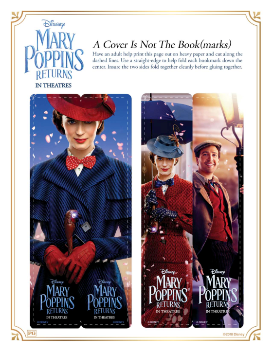 Mary Poppins Returns Activity Page Bookmark