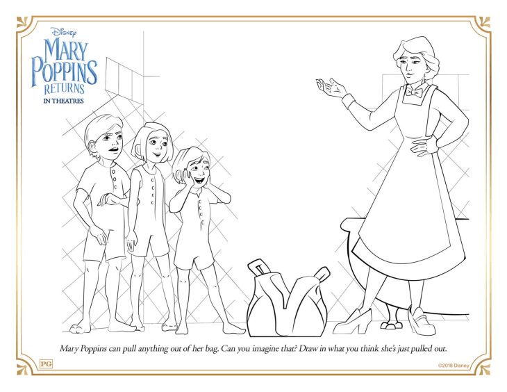 Disney's Mary Poppins Returns Coloring and activity pages
